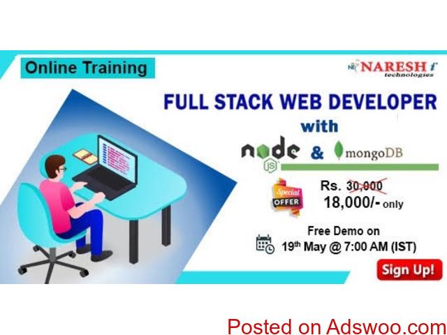 Full Stack Web Developer with Nodejs & mongoDB online Training in Pune, Maharashtra. - 1/1