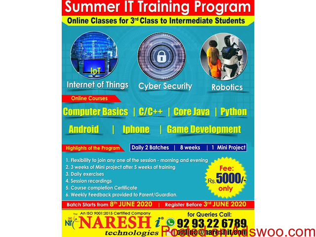 Summer IT Training Program Online Classes For 3rd Class To Intermediate Students in Hyderabad - 1/1